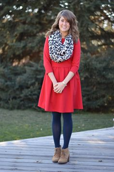 Red dress, scarf, navy tights, ankle boots