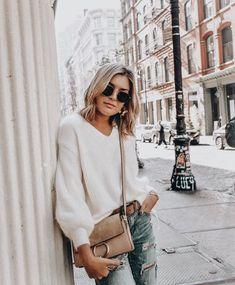 Neutrals Denim street style fashion fall winter summer spring hair glasses sunnies handbag sweater