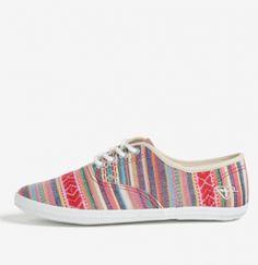 Teniși damă cu talpă joasă, material textil și dungi multicolore Tamaris | | OKO Fashion