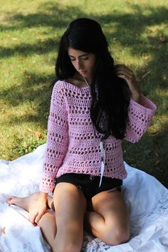 Sweater, Crochet sweater, Womens sweater, Boho chic sweater, Pink sweater, Romantic, feminine, FALL Autumn Winter fashion, cotton sweater