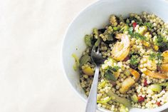 Israeli couscous with celery garlic prawns recipe, Bite – visit Eat Well for New Zealand recipes using local ingredients - Eat Well (formerly Bite) Couscous How To Cook, Garlic Prawns, Lemon Pasta, Fish Farming, Feeding A Crowd, Just Cooking, Cooking School, Healthy Dishes, Cherry Tomatoes