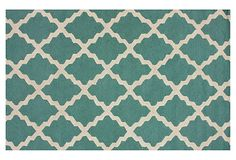 I want something interesting, but not too busy to compete with my Anthropologie rug.    Moroccan Trellis Rug, Aqua/Cream on OneKingsLane.com