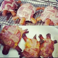 Turtle Burgers: Hot Dogs and Burgers wrapped in Bacon…