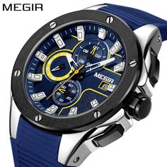 MEGIR Men's Sport Watches Silicone Quartz Military Army Waterproof Wristwatch men Clock Sub-dial Function Relogio Masculino. Yesterday's price: US $25.90 (22.02 EUR). Today's price: US $25.90 (22.24 EUR). Discount: 48%.