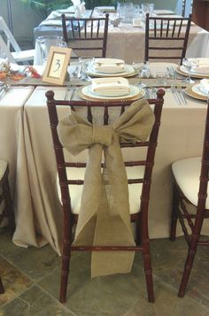 Burlap sash - great for a barn wedding or if you're going for that rustic look