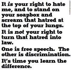Free speech vs discrimination.