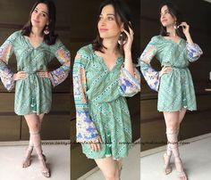 Style Shift Dress with Gladiators, Tamanna Style, Tamanna Outfits, Tamanna Bhatia Outfits.