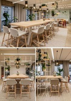 This modern office has long communal bar-like tables and smaller dining tables give the employees a place to relax while they eat their lunches. #ModernOffice #Workplace #Dining