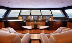The wheelhouse with it's distinct forward sloping windows  :: Yacht parts & Watermakers :: www.seatechmarineproducts.com