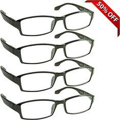 Reading Glasses _ Best 4 Pack for Men and Women _ Have a Stylish Look and Crystal Clear Vision When You Need It! _ Comfort Spring Arms & Dura-Tight Screws _ 100% Guarantee +3.00  VALUE IS ONLY THE BEGINNING: Aren't you tired of paying steep prices for flimsy glasses that look cheap? Allow your personal style to shine through with 4 Pairs of superbly crafted, ingenious stylishly designer reading glasses. Wearing these reading glasses at home, in bed, at the office, or wherever you need ...