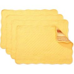 Better Homes and Gardens Reversible Quilted Placemats, Set of 4, Yellow