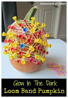 Glow In The Dark Loom Band Pumpkin. A fine motor skill activity for toddlers…