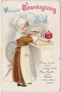 ELLEN CLAPSADDLE 1916 BUSY HAND at THANKSGIVING make for a Happy Heart!!!