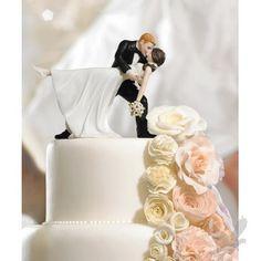 "\""A Romantic Dip\"" Dancing Bride & Groom Wedding Cake Topper Figurines"