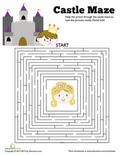 Worksheets: Save the Princess Maze