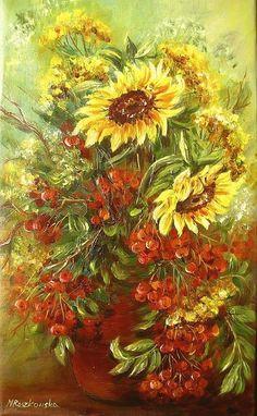 Jesienny bukiet - Maria Roszkowska - obraz olejny Sunflower Garden, Wonderful Flowers, 10 Picture, Fall Pictures, Abstract Flowers, Botanical Prints, Flower Art, Watercolor Art, Folk Art