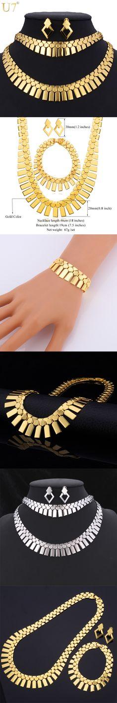 U7 Trendy Earrings Bracelet Necklace Set Gold Plated Party Women's Fashion Jewelry African Jewelry Set S462