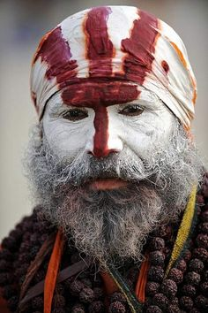 Snake Sect Sadhu - India. I am ashamed to say when I first saw this I thought someone was dressing up as CAST AWAY tom hanks and Wilson all in one
