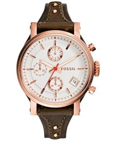 Fossil Women's Chronograph Original Boyfriend Brown Raisin Leather Strap Watch 38mm ES3616