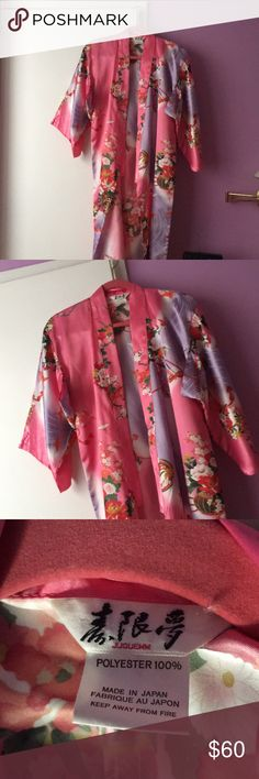 AUTHENTIC JAPANESE KIMONO ROBE Pink and purple authentic Japanese kimono robe! Purchased in Japan, simply does not fit anymore, 100% Polyester Pet free and smoke free home 💝 Intimates & Sleepwear Robes