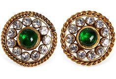 Chanel Gold Plate Rhinestone Earrings on OneKingsLane.com