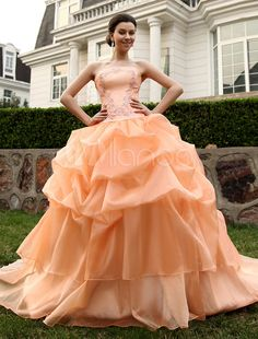 Abito da sposa arancione organza senza spalline vestito da ballo strascico a cappella - Milanoo.com