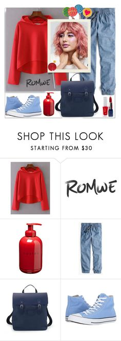 """""""Romwe.Drop Shoulder Seam High Low Hooded Sweatshirt"""" by natalyapril1976 ❤ liked on Polyvore featuring Costes, J.Crew and Converse"""