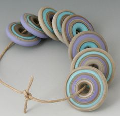 Southwest Discs  8 Handmade Lampwork Beads  Turquoise by outwest, $24.00