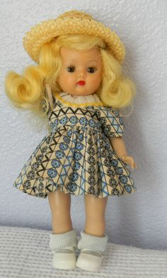 "1953 Vintage Nancy Ann Storybook Doll ""Muffie"" Root Beer Eyes Walker Blond Rare #DollswithClothingAccessories"