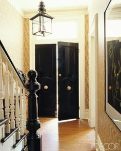 Black doors with brass knobs: Reminds me of the doors in London and Paris. Dark Doors, Black Front Doors, The Doors, Black Door, Entry Foyer, Entry Doors, Front Entry, Door Entryway, Diy Door