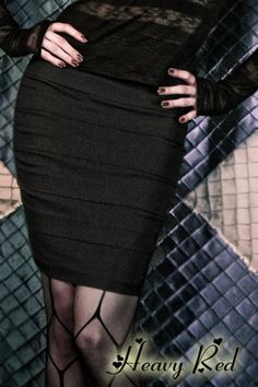 heavy red lust & discretion paneled pencil skirt