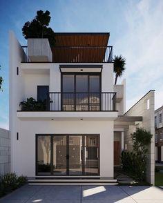 Casa pequena com três pavimentos e área externa valorizada Bungalow House Design, House Front Design, Duplex House, House Stairs, Facade House, Garden Stairs, Minimalist House Design, Modern House Design, Simple House Design