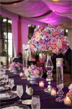 GORGEOUS lavender and coral wedding decor
