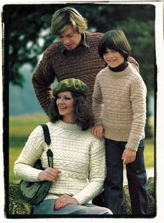 Instant Download PDF Vintage Knitting Pattern to make an Aran Sampler Syle Textured Sweater in 9 Family Sizes 28 to 44 inch Bust Chest