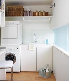 Browse laundry room ideas and decor inspiration. Discover designs for custom laundry rooms and closets, including utility room organization and storage solutions. Tiny Laundry Rooms, Laundry Room Remodel, Basement Laundry, Laundry Room Organization, Laundry Room Design, Laundry Area, Ikea Laundry, Compact Laundry, Garage Laundry