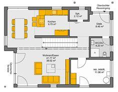 Fertighaus Trento Grundriss EG Arch Interior, Interior Design, Home Goods Decor, Home Decor, Huge Kitchen, Prefab, Luxurious Bedrooms, Unique Furniture, My House