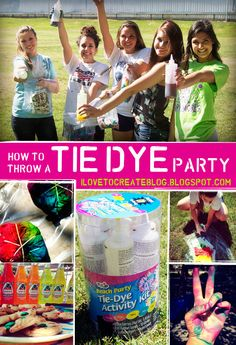 Last month, we hosted a fun tie dye party in our backyard for some super creative local high school girls. They had a blast making every. 13th Birthday Parties, Girl Birthday, Birthday Ideas, Hippie Birthday, Hippie Party, Tie Dye Party, Tie Dye Kit, How To Tie Dye, Cool Ties
