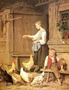 Albert Samuel Anker _ Girl Feeding the Chickens