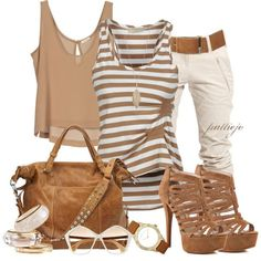 shoes top shirt tank top stripes striped top gathered top walnut brown crop tops key hole back loose fit bag purse heels high heels stilettos pumps multi strap heels pants khaki pants watch sunglasses bangle bracelets clothes outfit blouse Mode Outfits, Chic Outfits, Fashion Outfits, Womens Fashion, Fashion Trends, Fashionista Trends, Fashion Ideas, Simple Outfits, Teen Outfits