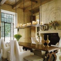 French Country Dining Room Ideas With Long Table And Armless ...