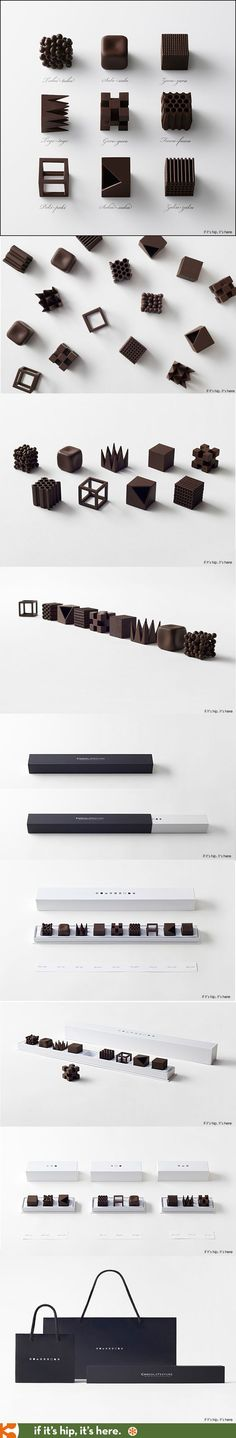 I don't know what's prettier, the chocolates or the packaging. ChocolaTexture by Nendo.: