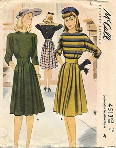 McCall 4513-1940s Fabulous Dolman Sleeve Dress and Blouse Vintage Sewing Pattern, by GrandmaMadeWithLove
