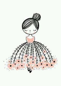 flower dresses Oh, the stunning Flower Dress Dreamer. This modern wall art illustration with a pop of pink is the perfect design. Doodle Drawings, Easy Drawings, Art Mignon, Illustration Mode, Ballerina Illustration, Cute Girl Illustration, Girl Illustrations, Illustration Artists, Pop Design