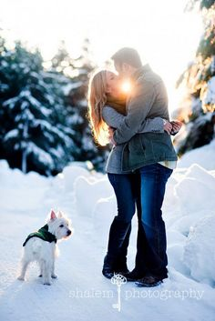 For romantic winter engagement photos you can wrap yourself in a beautiful soft blanket. For fun photos choose different winter games, as sled or skates. Winter Photography, Couple Photography, Engagement Photography, Wedding Photography, Pet Photography, Engagement Couple, Engagement Shoots, Winter Engagement Photos With Dog, Country Engagement