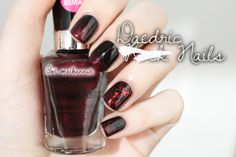ootmeikannut.blogspot.com Skyrim inspired nail art: Black with Wet n Wild Under Your Spell and Make Them Boys Go Loco