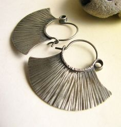 Argentium Earrings, Sterling Silver Earrings Sterling Silver Hoops, Fan Hoop Earrings, Tribal Inspired Contemporary Earrings, Silver Jewelry by Mocahete on Etsy https://www.etsy.com/listing/59499660/argentium-earrings-sterling-silver