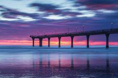 ***Dramatic sunrise (New Brighton Beach, Christchurch, New Zealand ) by Tom Hackett