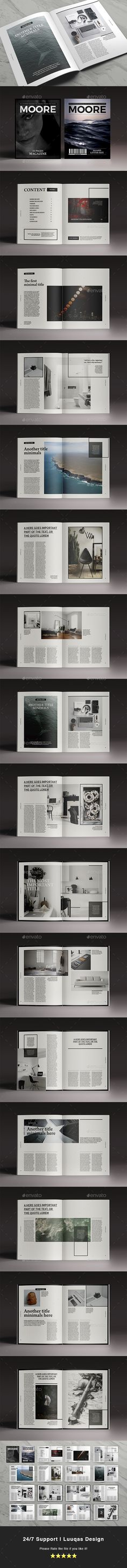 Moore Magazine Template InDesign INDD. Download here: https://graphicriver.net/item/moore-magazine-indesign-template/17230373?ref=ksioks