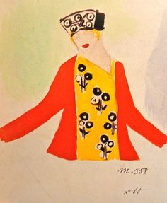 Clothing design by French avant-garde painter and designer Sonia Delaunay