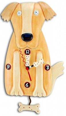 golden paw dog wall clock